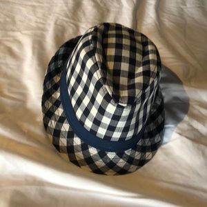 Boys Blue cross checkered patter fedora hat
